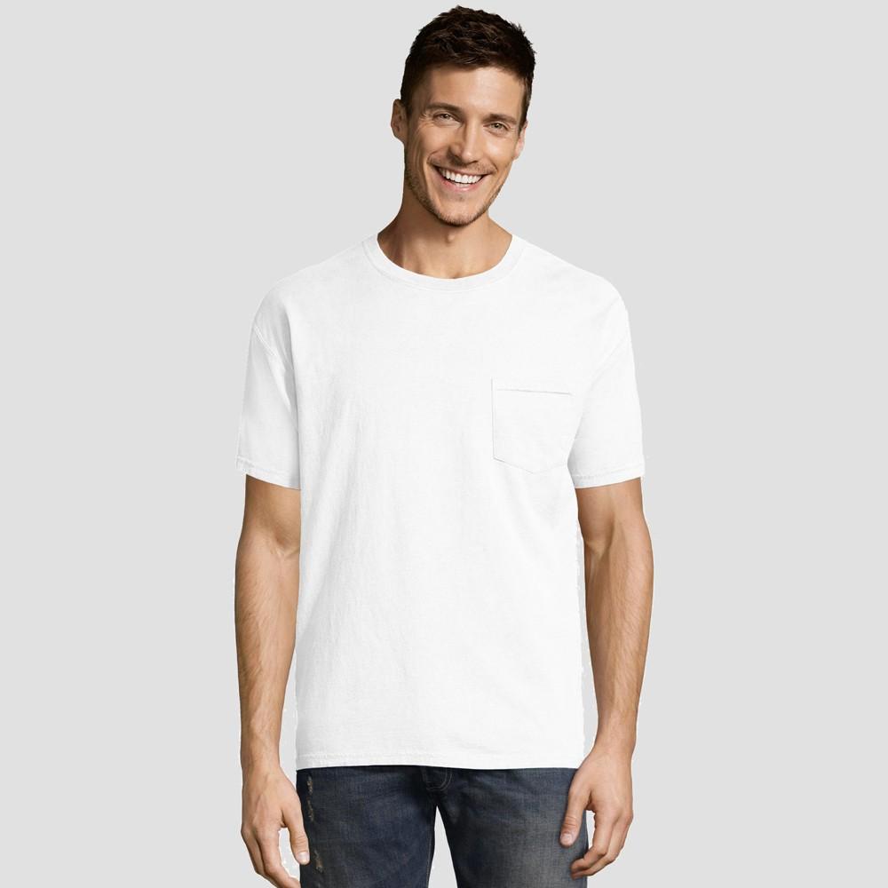 Hanes Men's Short Sleeve 1901 Garment Dyed Pocket T-Shirt - White L