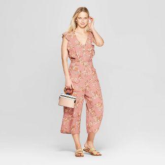 Women's Floral Print Short Sleeve V-Neck Button Tie Front Jumpsuit - Xhilaration™ Mauve S