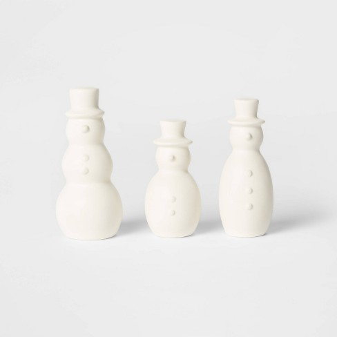 3pk Ceramic Snowman Decorative Figurine Set White - Wondershop™ - image 1 of 1
