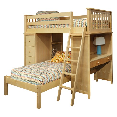 Mission Sss Loft Bed With Desk Bookcase Drawers And Lower Platform Twin Natural Bolton Furniture