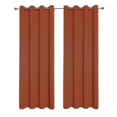 Kate Aurora Hotel Living 2 Pack 100% Blackout Grommet Top Orange Spice Curtain Panels