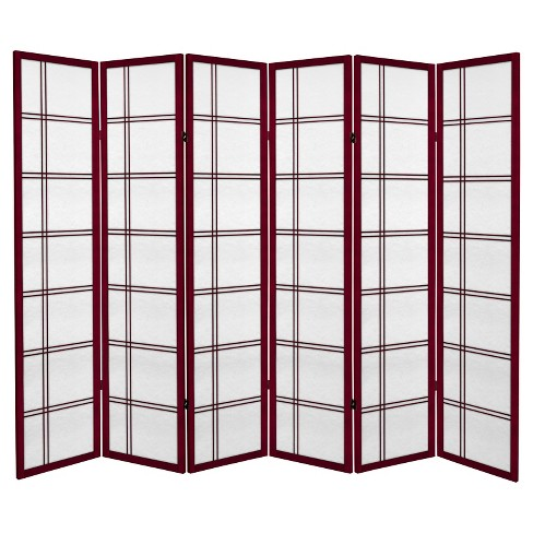 6 ft. Tall Canvas Double Cross Room Divider - Rosewood (6 Panels) - image 1 of 1