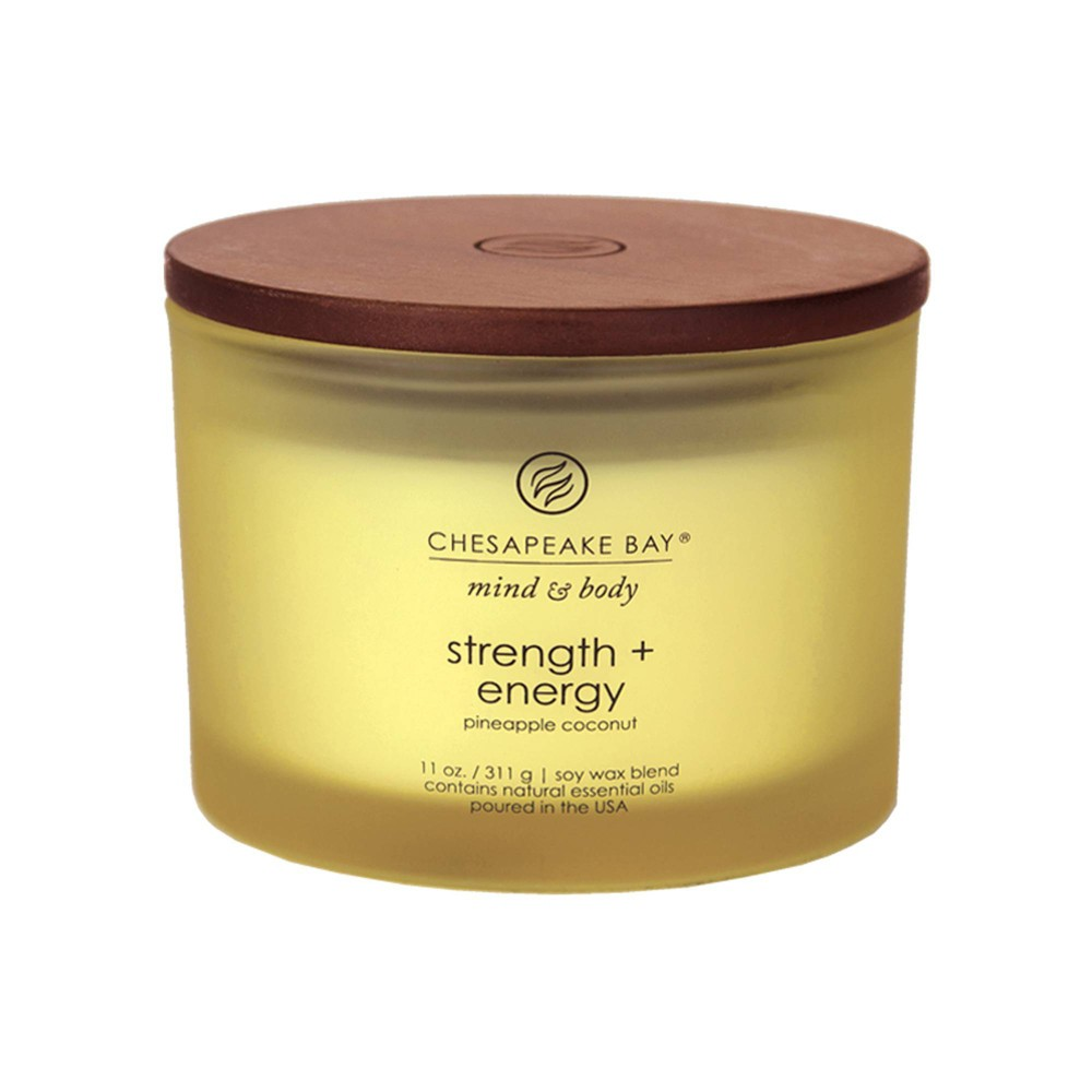 Image of 11oz Glass Jar 3-Wick Candle Strength + Energy - Mind & Body by Chesapeake Bay Candle, Yellow