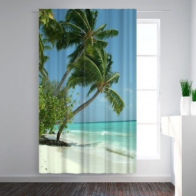 Americanflat Maldives Beach Travel Holiday by Wonderful Dream Blackout Rod Pocket Single Curtain Panel 50x84