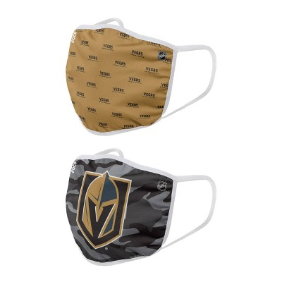 NHL Vegas Golden Knights Adult Clutch Printed Face Covering - 2pk