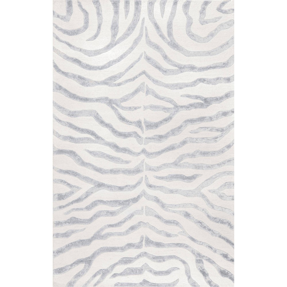 2 39 X3 39 Hand Tufted Plush Zebra Accent Rug Gray Nuloom