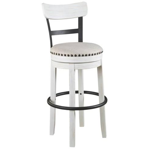 Tall Upholstered Swivel Barstool White