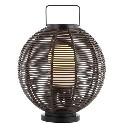 "22"" Outdoor Woven Globe Asian Lantern (Includes LED Light Bulb) Coffee - Jonathan Y"