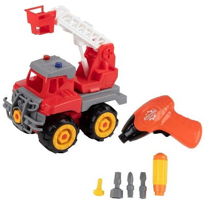 7-Piece Take Apart Fire Engine Set, Fire Truck Toy with Electric Drill and Tools