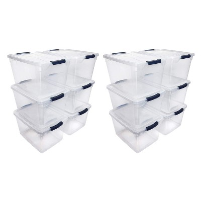 Rubbermaid Cleverstore Home Office Organization 30 Quart Latching Stackable Plastic Storage Tote Container with Lid , Clear (12 Pack)