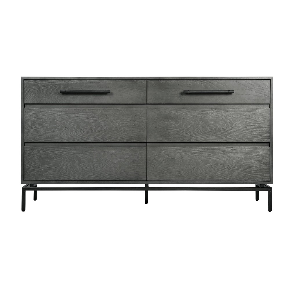 Image of Ashton 6 Drawer Wood and Metal Dresser Gray - Finch