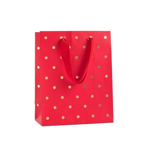 Red With Gold Polka Dots Cub Gift Bag Sugar Paper