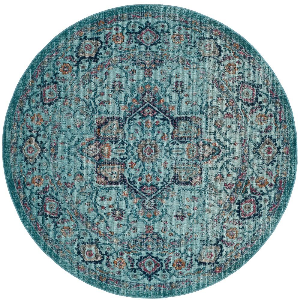 6'7 Medallion Round Area Rug Light Blue - Safavieh