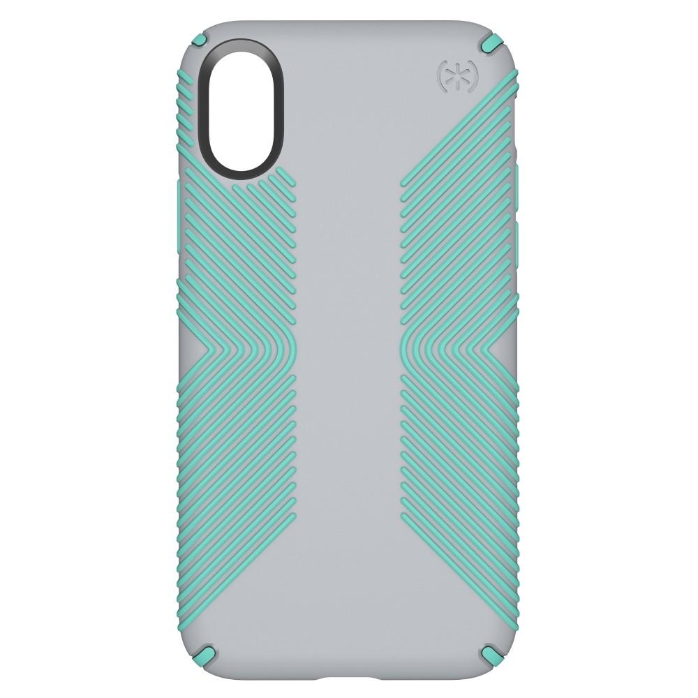 Speck iPhone X Case Presidio Grip - Dolphin/Aloe, Gray