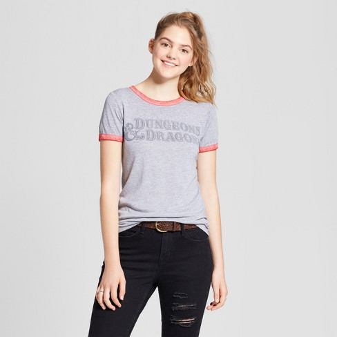 Women's Dungeons & Dragons® Short Sleeve Ringer Graphic T-Shirt (Juniors') - Gray - image 1 of 2