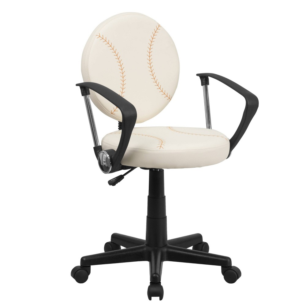 Image of Baseball Task Chair with Arms - Flash Furniture, White