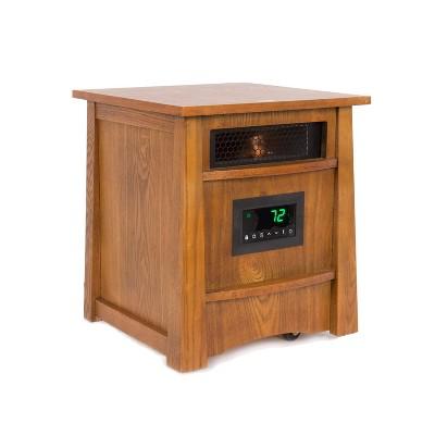 Lifesmart Lifelux 8 Element Quartz Electric Infrared Indoor Extra Large Room Portable Space Heater, Oak