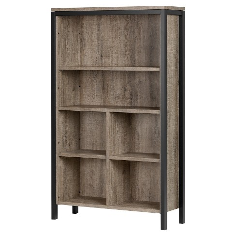 Decorative Bookshelf Weathered Oak Matte Black - image 1 of 7