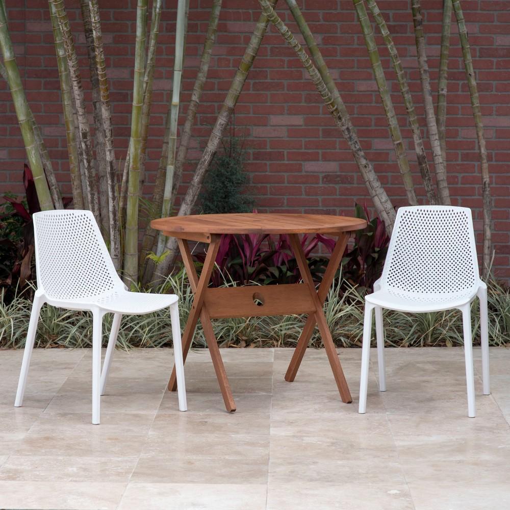 Image of 3pc Elvis Round Eucalyptus/Resin Patio Bistro Set White - Amazonia
