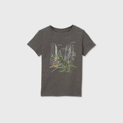Toddler Boys' T-Rex In City Graphic Short Sleeve T-Shirt - Cat & Jack™ Charcoal Gray