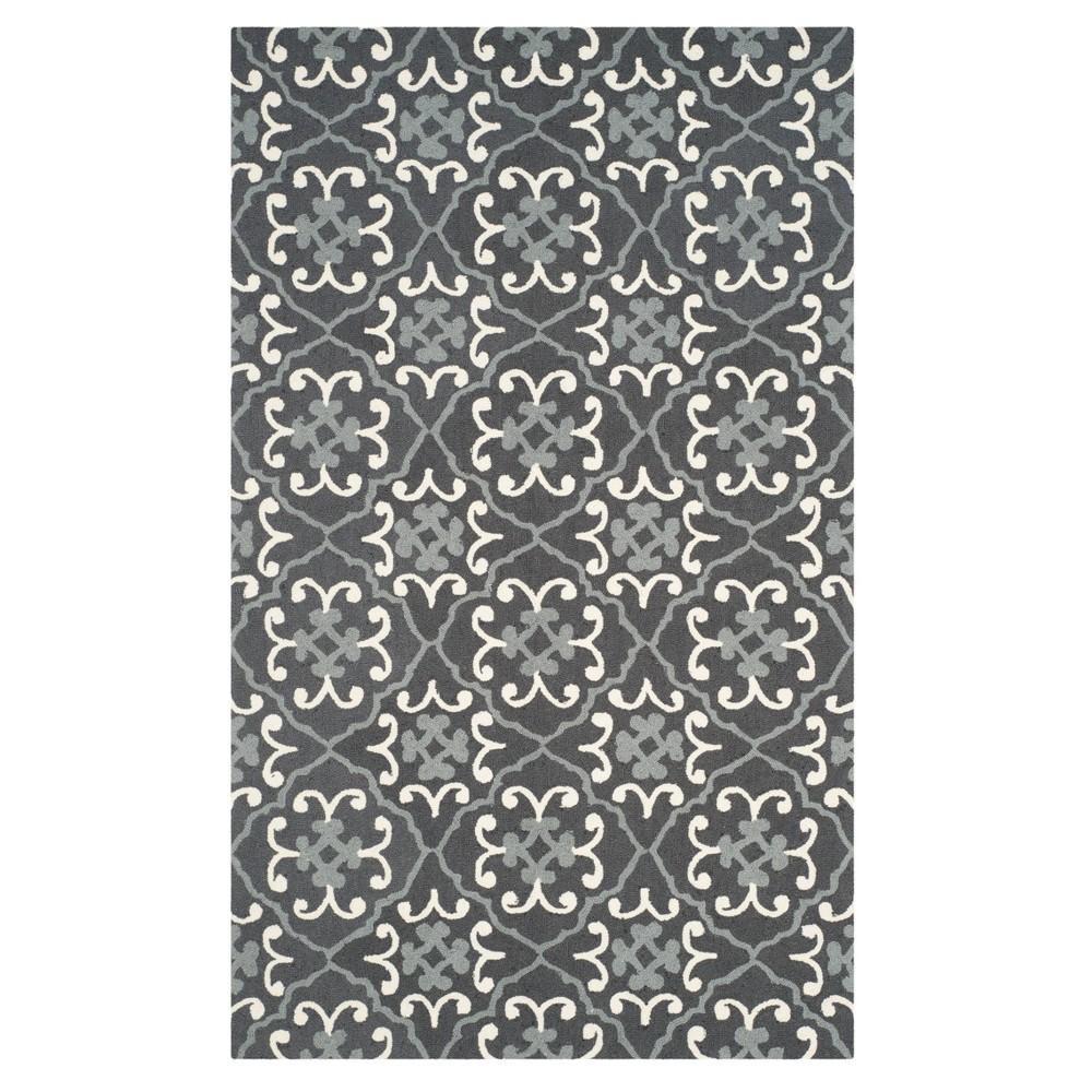 Dark Gray/Ivory Geometric Hooked Area Rug 5'X8' - Safavieh, Dark Graynivory