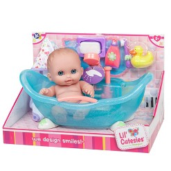 "JC Toys Lil'Cutesises 8.5"" Doll in Bathtub with Accessories"