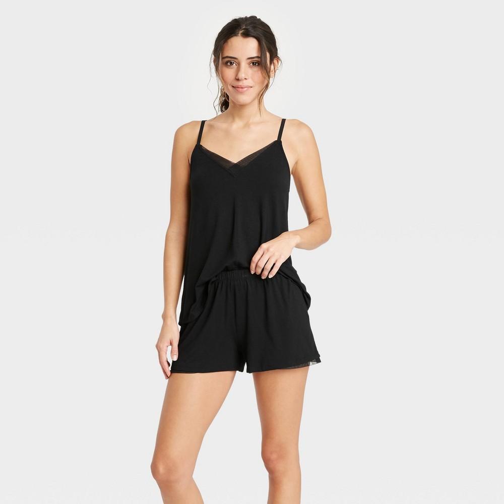 Women 39 S Beautifully Soft Cami And Shorts Pajama Set Stars Above 8482 Black L