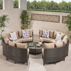 Newton 10pc Wicker Patio Lounge Set - Dark Brown with Taupe Cushions - Christopher Knight Home