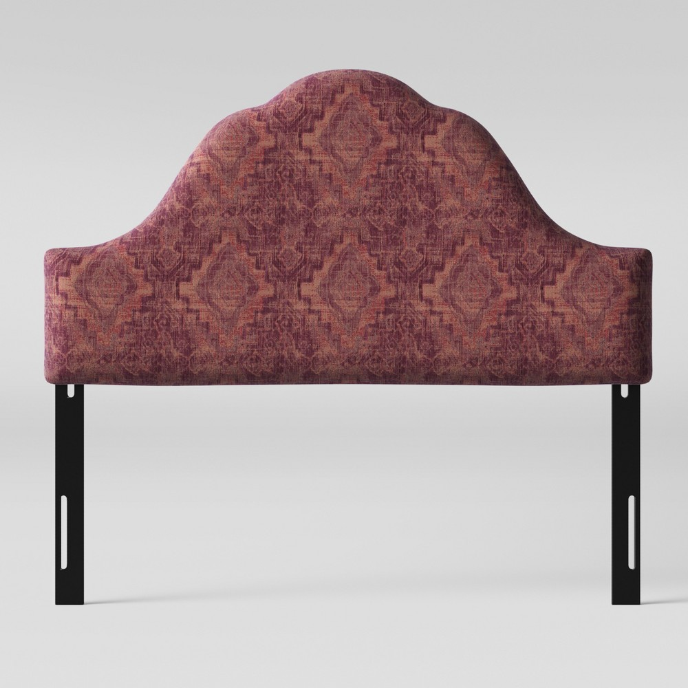 King Zinnia Arched Headboard Pink Woven Design - Opalhouse, Pink Textured Woven