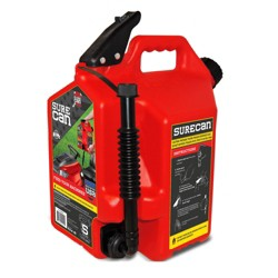 SureCan Self Venting Easy Pour Nozzle 5 Gallon Flow Control Gas Container, Red