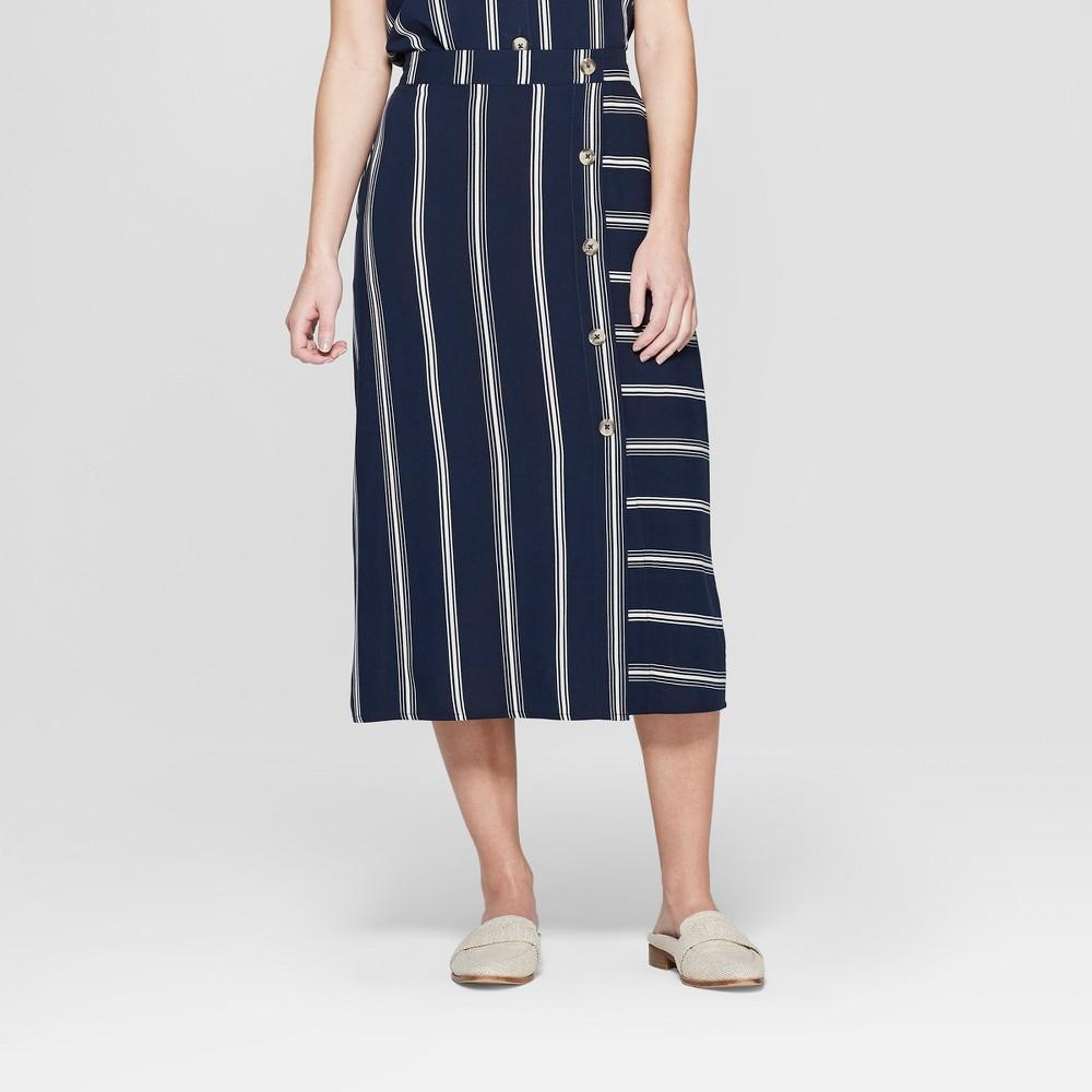 Women's Striped Side Button Midi Skirt - Xhilaration Navy XS, Blue