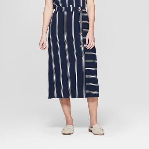da71fe8d33e4 Women's Striped Side Button Midi Skirt - Xhilaration™ Navy : Target