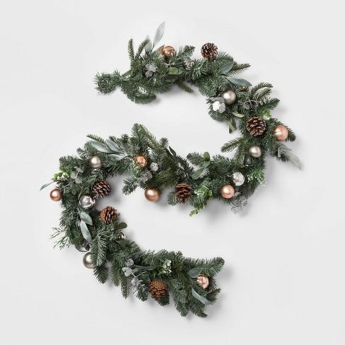 Christmas Pine Garland.6ft Christmas Copper Ornaments Pinecones Artificial Pine Garland Wondershop