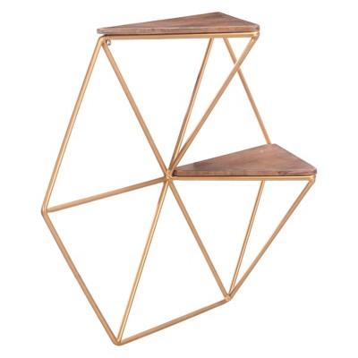 ZM Home 21  Modern Triangular Storage Shelf Gold