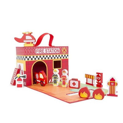 Small Foot Wooden Toys Fire House Playworld In Carrying Case