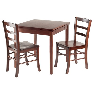 3 Piece Pulman Set Extension Table With Ladder Back Chairs Wood/Walnut    Winsome