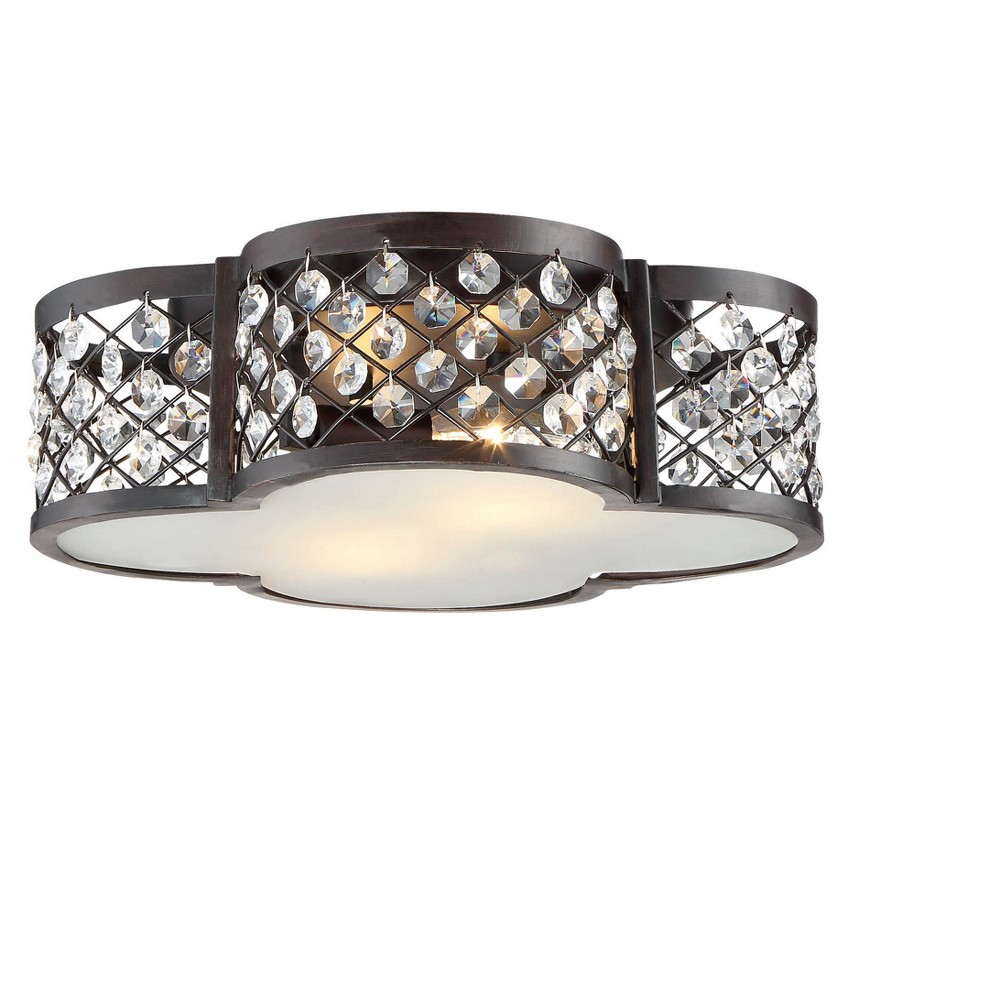 Oil Rubbed Bronze Flush Mount Ceiling Lights with Crystal Accents (Set of 2) - Filament Design