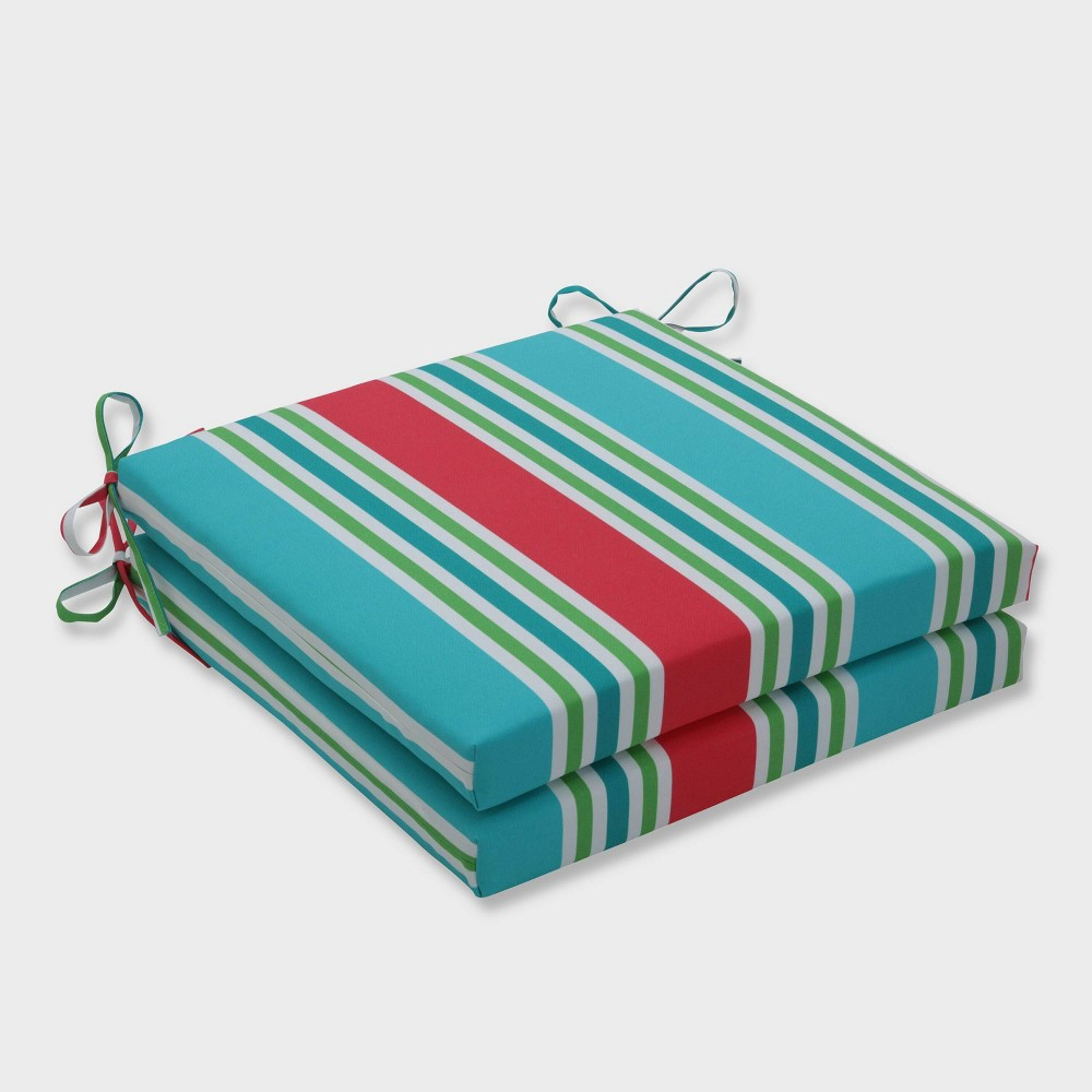 "Image of ""20"""" x 20"""" x 3"""" 2pk Aruba Stripe Squared Corners Outdoor Seat Cushions Blue - Pillow Perfect, Blue Green Orange"""