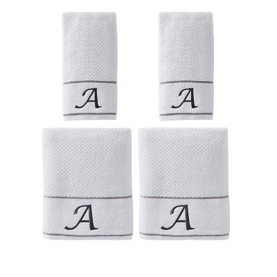 """4pc """"A"""" Monogram Bath/Hand Towel Set White - SKL Home"""
