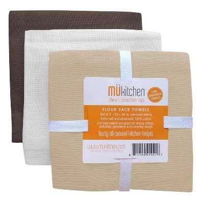 3pk Kitchen Towels Brown/Beige/White - MU Kitchen