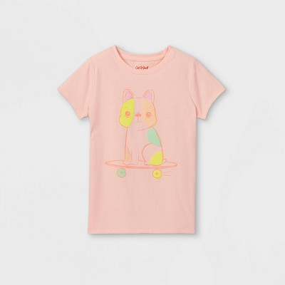 Girls' Skateboard Pup Graphic Short Sleeve T-Shirt - Cat & Jack™ Powder Pink