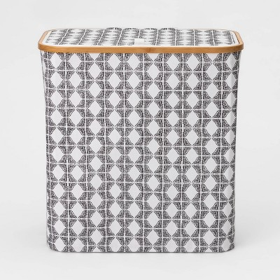 Bamboo Rim Laundry Hamper with Lid Geo Pattern - Threshold™