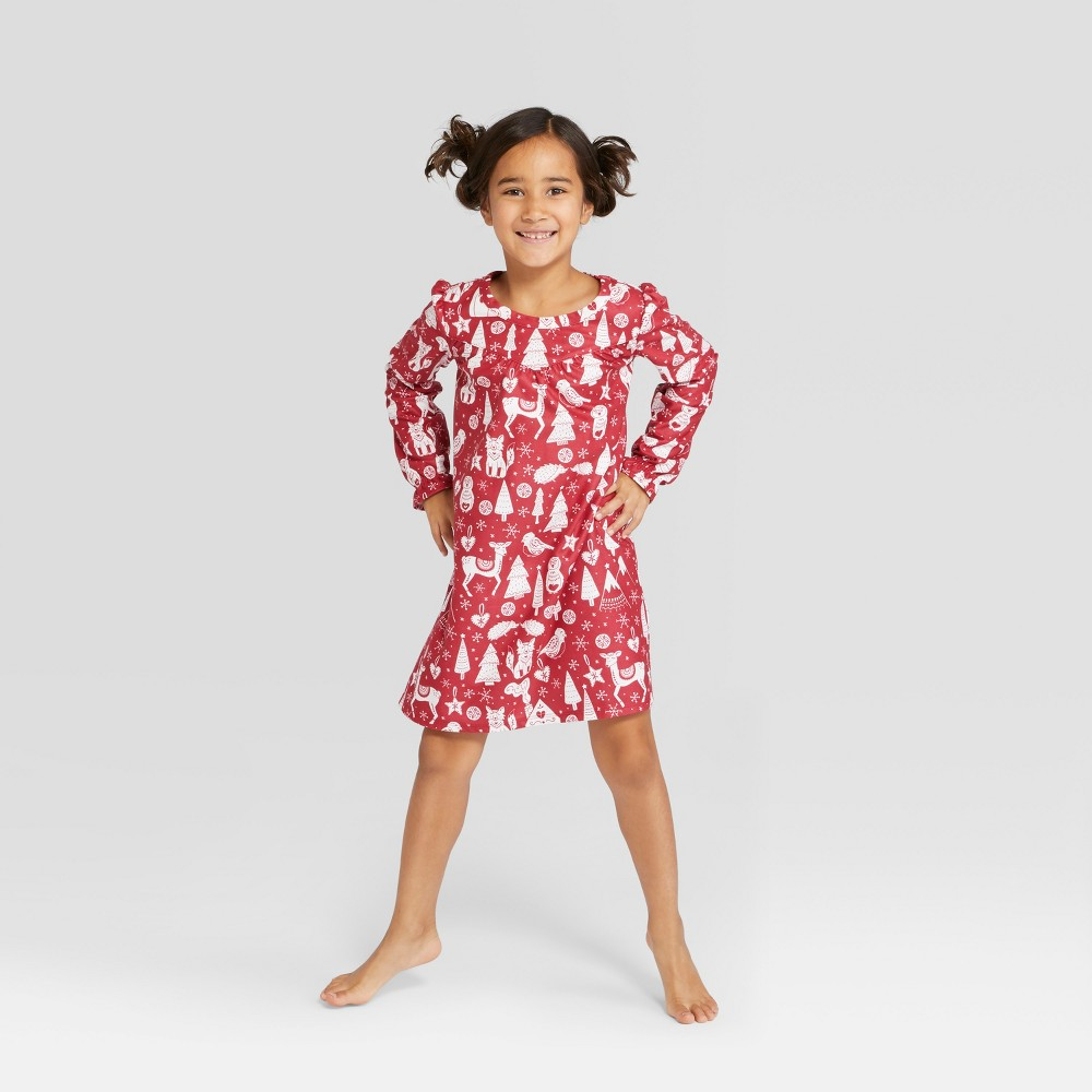 Girls' Holiday Critters Notch Collar Mommy and Me Nightgown - Wondershop Red M