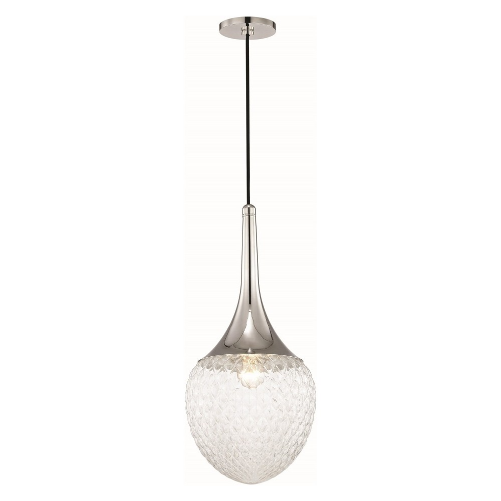 1pc Bella Light Pendant Style B Brushed Nickel - Mitzi by Hudson Valley