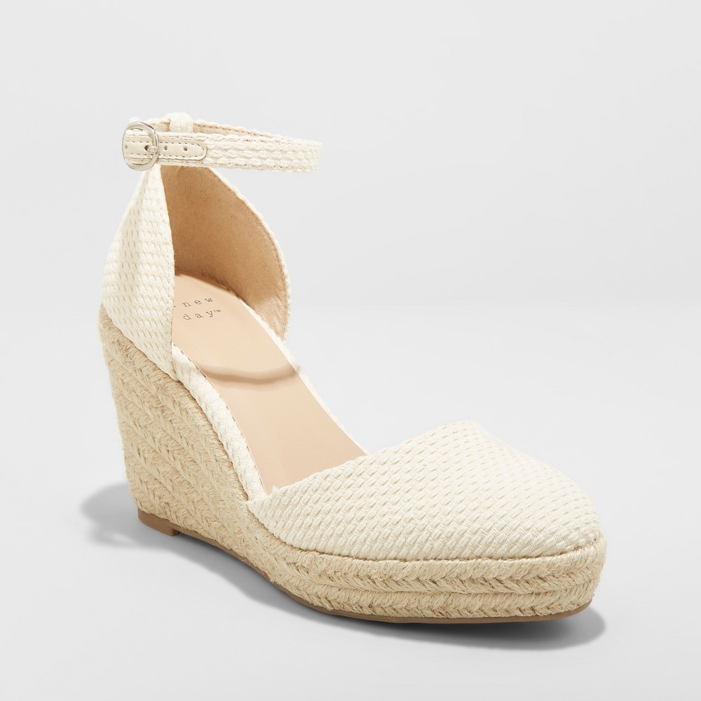 Women's Olivia D'Orsay Closed Toe Espadrille Wedge - A New Day Cream (Ivory) 5