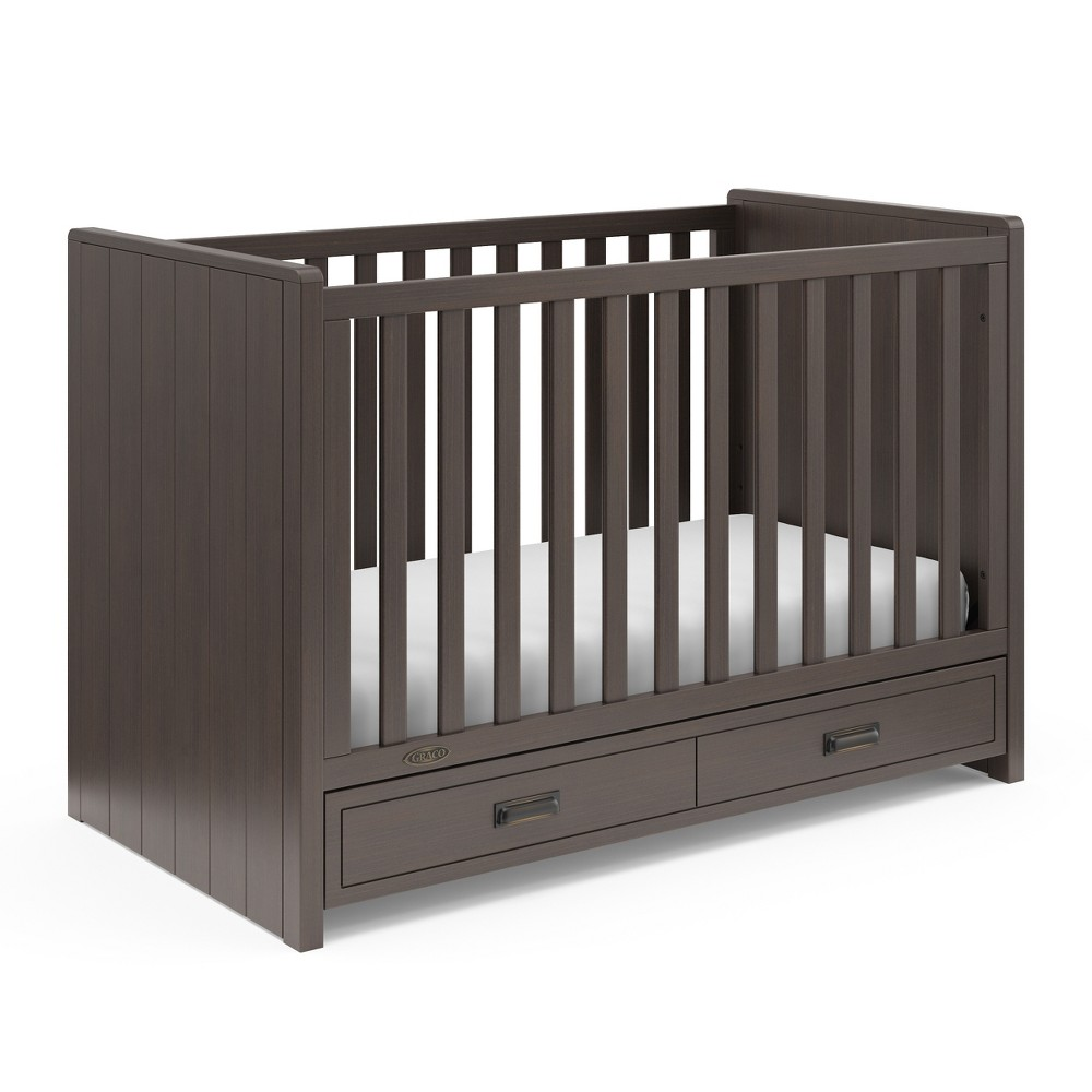Image of Graco Cottage 3-in-1 Convertible Crib with Drawer - Mocha, Brown