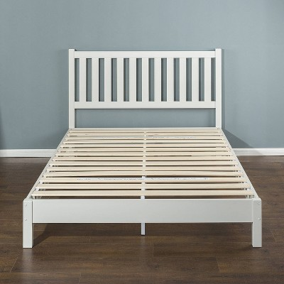 Wen Deluxe Wood Platform Bed with Slatted Headboard White - Zinus