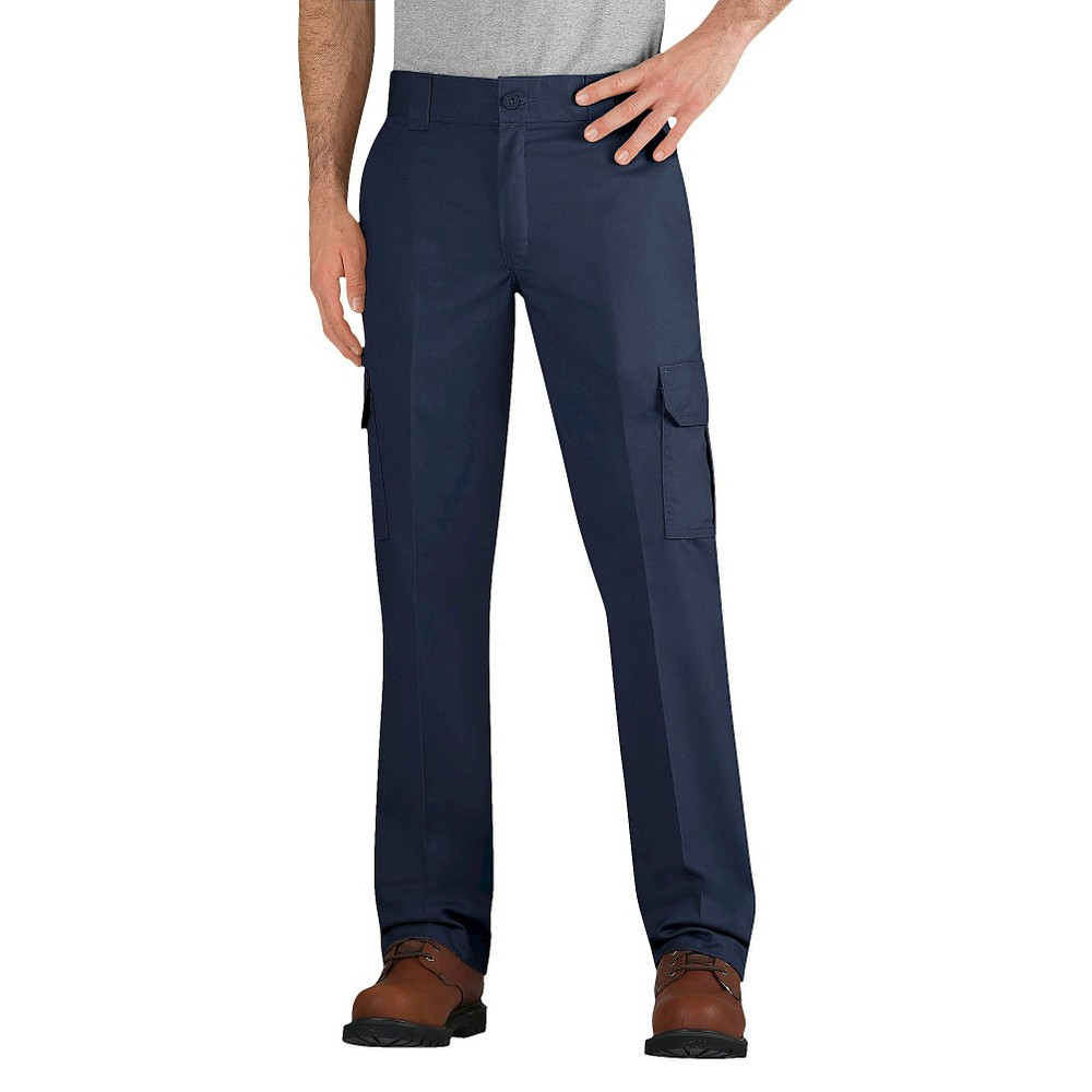 Dickies Men's Slim Straight Fit Flex Twill Cargo Pants- Dark Navy 34X30