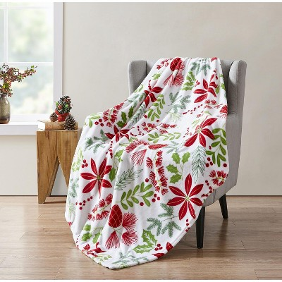 Kate Aurora Holiday Living Christmas Floral Poinsettia & Ferns Ultra Soft & Plush Throw Blanket