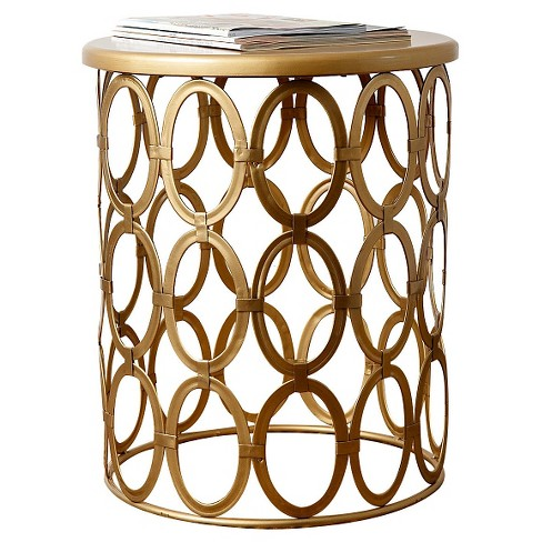 Vista End Table Gold Round Abbyson Living